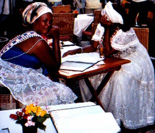 03d  Pelhourinho - dressed traditionally and sat in cafe