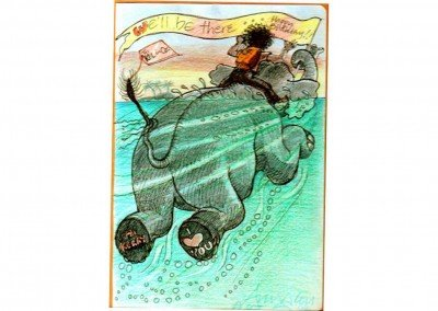 07  'I'll be there!'  me on elephant, swimming to OZ and Kezza Oct 02