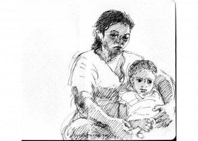 10  Ghizlan, pregnant elder daughter cuddling friend Ehssan, Saidia July 05 1