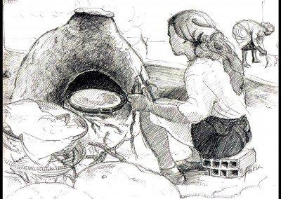 18  FATIRHA at DAWN baking bread in clay oven at dawn '01b
